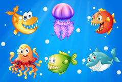 A sea with smiling creatures Stock Photo