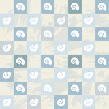 Sea snail pattern, blue squares, grey stained background Royalty Free Stock Photo