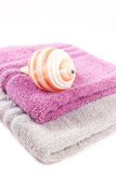 Sea Snail and stacked colorful towels Royalty Free Stock Photo