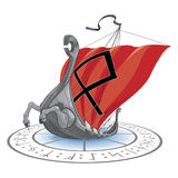Sea snake. Viking's ship sea cruise  illustration, runes and signs Stock Photo