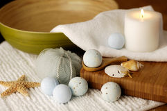 Sea Spa. Oceanic spa accessories with bamboo Stock Images