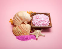 Sea Spa - bath salt and shells Stock Photos