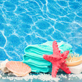 Sea spa setting by pool side stock image