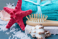 Sea spa setting with starfish close up Royalty Free Stock Photo