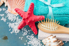 Sea spa setting with starfish Royalty Free Stock Images