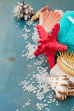 Sea spa setting with starfish royalty free stock photos