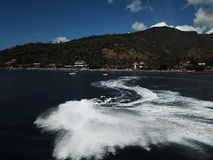 Sea and speed on the Bali sea stock photography