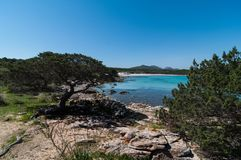The sea in spiaggia cala sabina. Summer 2018 The sea in spiaggia cala sabina Sardinia island Italy royalty free stock photos