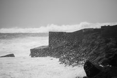Sea splashes before the storm in Atlantic ocean in Tenerife, Spain royalty free stock photos