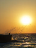 Sea splashes at sunset Stock Images