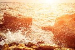 Sea splashing on rocks Royalty Free Stock Photography