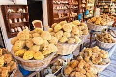 Sea sponge on display in street shop on Symi island Rhodes, Greece stock photography