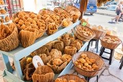 Sea sponge on display in street shop on Symi island Rhodes, Greece royalty free stock photos