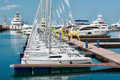 Sea sport yachts in dock Royalty Free Stock Photo