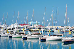 Sea sport yachts in dock Royalty Free Stock Photography