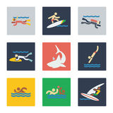 Sea sports flat icons Royalty Free Stock Photo