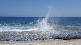Sea spray. Crete beautiful sea spray stock photo