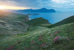 Sea spring bay. View from the mountain. Royalty Free Stock Photography