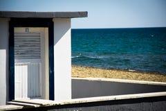 Seascape, cabin on sea background stock photo