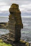 Sea Stack at Castle Sinclair Girnigoe stock photo
