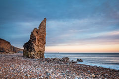 Sea Stack on Chemical Beach. Dawdon Chemical Beach, got its name from the former Seaham Chemical Works and is located on the Durham coastline south of Seaham royalty free stock photo