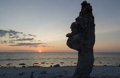 Sea Stack at Langhammar, Gotland in Sweden Royalty Free Stock Photo