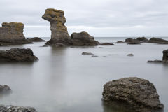 Sea Stack by Ocean in Gotland, Sweden Stock Images