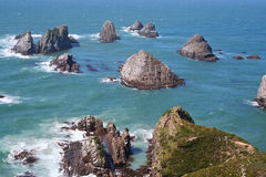 Sea stacks. Off the coast of New Zealand stock photography