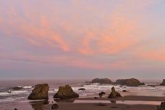 Sea stacks on Bandon beach at sunrise, Oregon coast, Stock Image