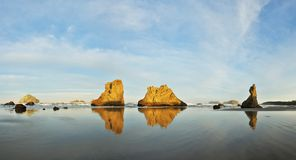 Sea stacks on Bandon beach at sunrise, Oregon coast Stock Images