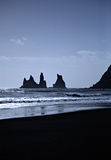 Sea stacks Iceland. Reynisdrangur sea stacks Vik in Iceland Stock Photo