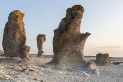 Sea Stacks at Langhammar, Gotland in Sweden Royalty Free Stock Photography
