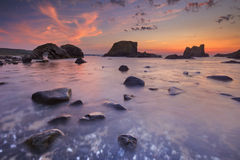 Sea stacks near Ballintoy Harbour in Northern Ireland stock images