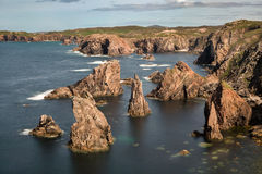 Sea stacks on Outer Hebrides. Mangersta or Mangurstadh beach and sea stacks on the Isle of Lewis and Harris, Outer Hebrides, Scotland royalty free stock photos
