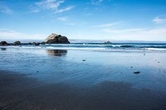 Sea stacks in the Pacific Ocean near Crescent City California on a clear sunny day royalty free stock photos