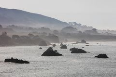 Sea Stacks and Rocky California Coastline. The Pacific Ocean meets the northern California coastline in Sonoma. Thick fog, generated by a layer of cool, coastal stock photos