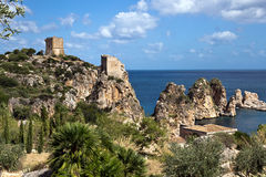 The sea stacks of Scopello, Sicily Stock Images