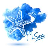 Sea star. On a watercolor background. Original hand drawn illustration Stock Photo