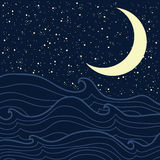 Sea and starry night Stock Photo