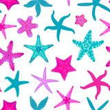 Sea stars seamless pattern. Marine and nautical backgrounds with starfishes. Starfish underwater invertebrate animal. Vector illustration Royalty Free Stock Photos