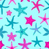 Sea stars seamless pattern. Marine and nautical backgrounds with starfishes. Starfish underwater invertebrate animal. Vector illustration Stock Photography