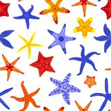 Sea stars seamless pattern. Marine and nautical backgrounds with starfishes. Starfish underwater invertebrate animal. Vector illustration Stock Images