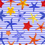 Sea stars seamless pattern. Marine striped backgrounds with starfishes. Starfish underwater invertebrate animal. Vector. Illustration Stock Photography