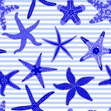 Sea stars seamless pattern. Marine striped backgrounds with starfishes. Starfish underwater invertebrate animal. Vector. Illustration Stock Image