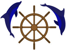 Sea steering. Emblem a sea steering wheel with dolphins in a vector Stock Photo