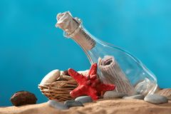 Sea still-life the message. In a bottle Royalty Free Stock Photo