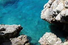 Sea stone. A beautiful stone coast on the Аdriatic sea. Budva, Montenegro Stock Photos