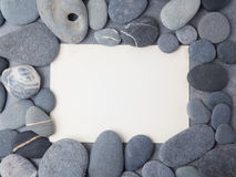 Sea stone frame border background. Top view. Flat lay Royalty Free Stock Photo