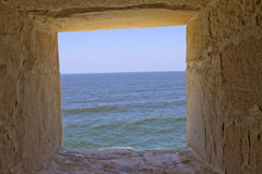 Sea in the stone window Stock Photography
