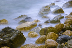 Sea and stones. Yellow stones in the stormy sea Stock Photo
